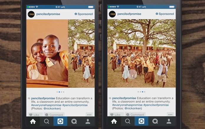 Veja as imagens rolando a tela para a lateral nos anúncios no Instagram (Foto: Divulgação/Instagram)