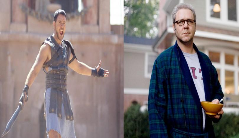 Oito anos e 28 quilos separam o trabalho de Russel Crowe em 'Gladiador' e 'Rede de Mentiras'. Enquanto no épico de Ridley Scott, o ator interpreta o forte general Maximus Decimus Meridius, no drama de 2008 ele faz o papel de um agente pouco atlético da CIA. (Foto: Divulgação)