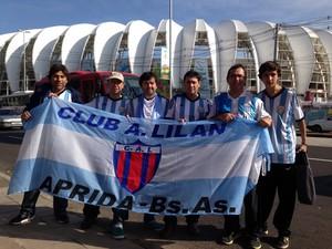 Argentinos estão animados com a partida de quarta-feira (25) no Beira-Rio (Foto: Caetanno Freitas/G1)