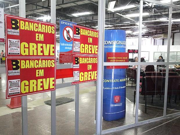 Greve fechou agências bancárias no Maranhão (Foto: Flora Dolores / O Estado)