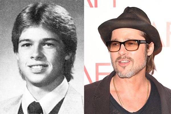 Visto como um dos grandes galãs de Hollywood, Brad Pitt quase não lembra mais o menino de sua foto de anuário. Ele cresceu e conquistou o coração de uma das atrizes mais cobiçadas da atualidade, Angelina Jolie (Foto: Reprodução e Getty Images)