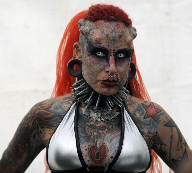 Mexicana María José Cristerna é conhecida como 'mulher vampiro'. (Foto: Johan Ordonez/AFP)