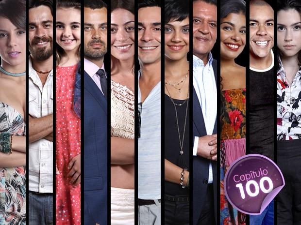 Atores de Amor Eterno Amor toparam o desafio de contar os 100 capítulos em 100 segundos (Foto: Amor Eterno Amor / TV Globo)