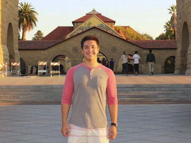 Peirol Gomes, criador do 'MyCSF', durante seus estudos na Universidade Stanford (Foto: Arquivo Pessoal)