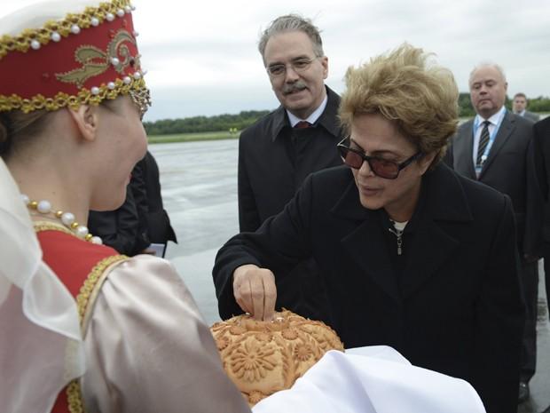 A presidente Dilma Rousseff, ao chegar a Ufá, na Rússia, para participar da VII Cúpula do Brics (Foto: crédito RIA Novosti/SCO Photohost/Brics/Reuters)