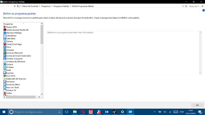 Windows 10 traz listas de aplicativos para que usuário escolha os padrões (Foto: Reprodução/Elson de Souza)