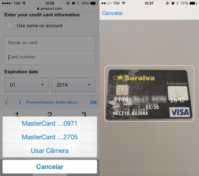 Escaneando cartão de crédito pelo iOS 8 (Reprodução/ Helito Bijora)