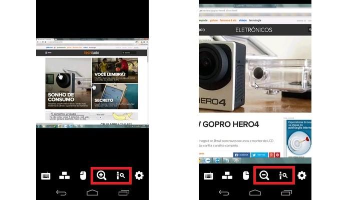 Destaque para ícones de lupa, que alteram zoom no LogMeIn (Foto: Reprodução/ Raquel Freire)