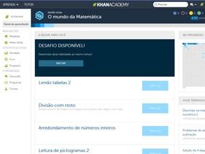 Página inicial da plataforma da Khan Academy em português (Foto: Reprodução/Fundação Lemann)