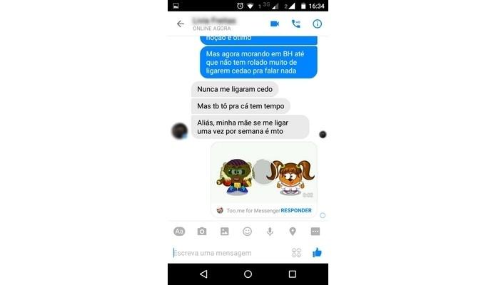 Conversa no Facebook Messenger com mensagem em desenho animado, feita no Too.me (Foto: Reprodução/ Raquel Freire)