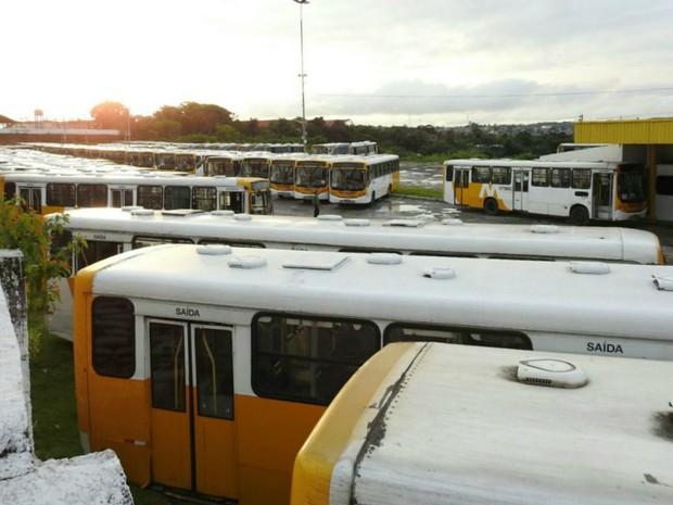 Ônibus do transporte público retidos em garagem de empresa na Zona Leste (Foto: Adneison Severiano/G1 AM)