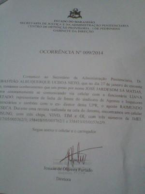 Ocorrência de apreensão em revista de Pedrinhas (Foto: Reprodução/Documento)