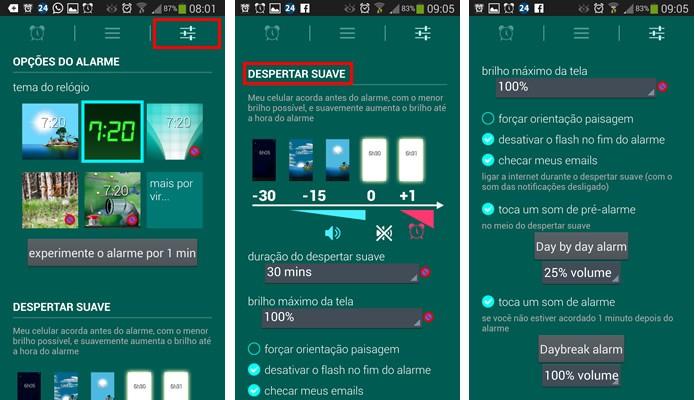 """Aperte na aba da direita e configure as opções de iluminação do alarme em """"Despertar Suave"""" (Foto: Reprodução/Daniel Ribeiro)"""