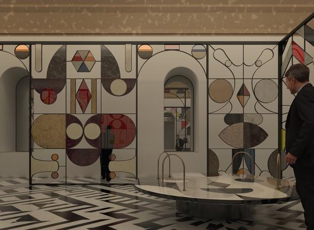 Com aplicações de Caesarstone em uma estrutura de metal, o designer Jaime Hayon cria formas coloridas, que lembram elementos da flora, fauna e folclore (Foto: Divulgação)