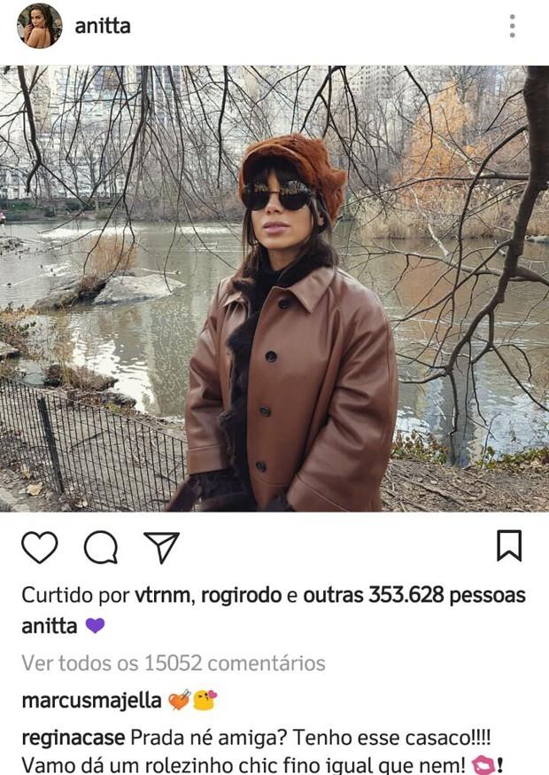 Comentário de Regina Casé na foto de Anitta (Foto: Reprodução/Instagram)