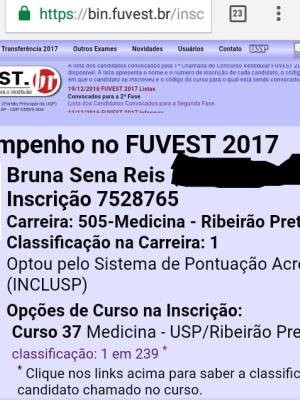 Print da aprovação de Bruna virou 'troféu' da jovem de 17 anos de Ribeirão Preto, SP (Foto: Reprodução / EPTV)