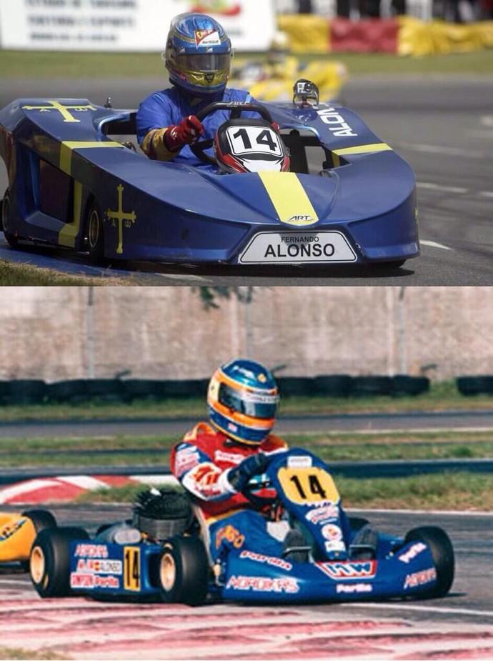 Fernando Alonso posta fotos usando o número 14 no kart (Foto: Reprodução)