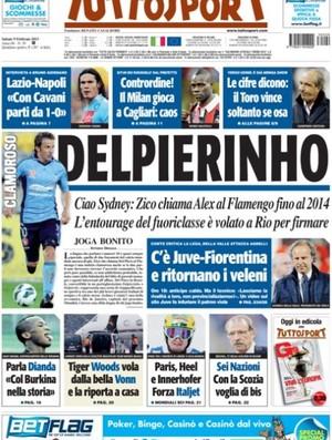 Capa do Tuttosport com Del Piero no Flamengo (Foto: Reprodução)