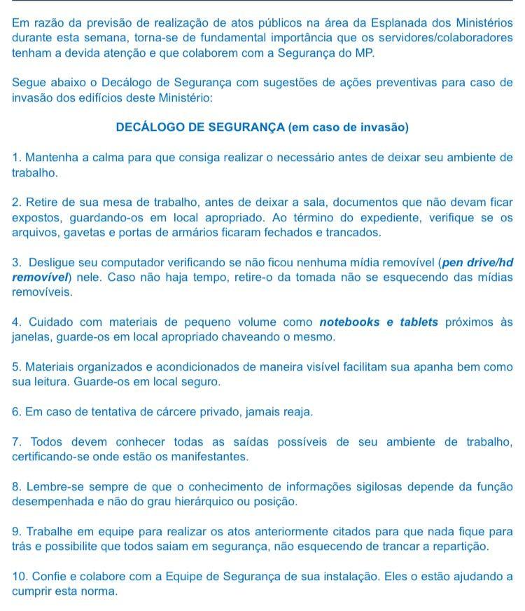 Decálogo da Segurança  (Foto: Reprodução )