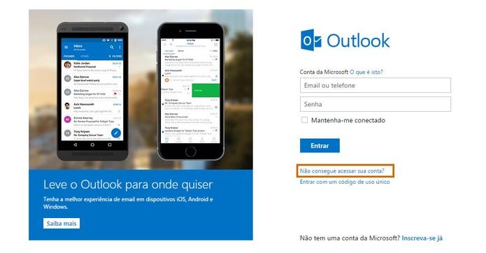 Acesse a página de login do Outlook.com pelo computador (Foto: Reprodução/Barbara Mannara)