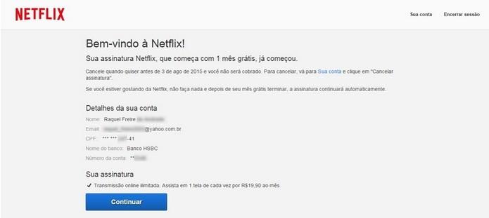 Mensagem de confirmação da assinatura do Netflix via conta corrente