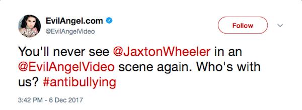 Produtores de filmes pornô anunciaram o banimento do ator Jaxton Wheeler (Foto: Twitter)