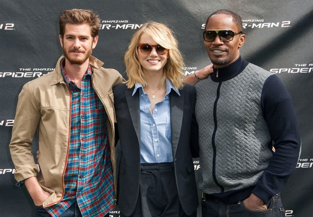 Andrew Garfield, Emma Stone e Jamie Foxx (Foto: Getty Images)