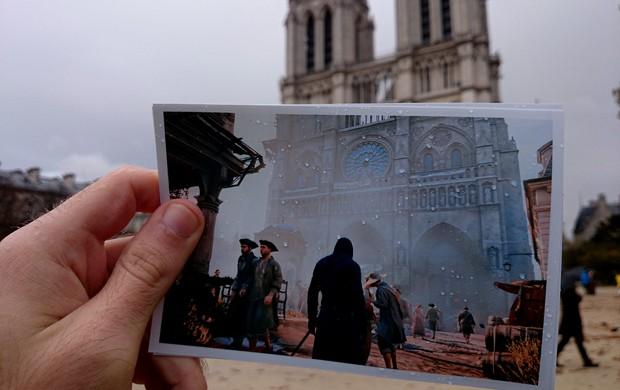 Fã de 'Assassin's Creed Unity' sobrepôs foto da Catedral de Notre Dame no game ao ponto histórico  (Foto: Arquivo Pessoal/Damien Hypolite)