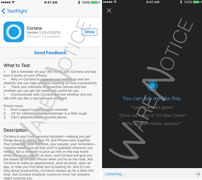 Cortana chegou em fase beta ao iOS (Foto: Reprodução/Ware Notice) (Foto: Cortana chegou em fase beta ao iOS (Foto: Reprodução/Ware Notice))