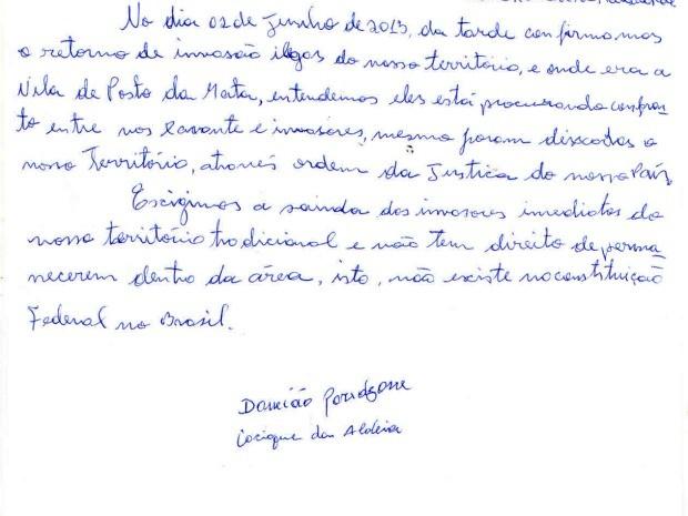 Em carta, cacique clama por cumprimento de direitos indígenas em Marãiwatsédé (Foto: Cimi)