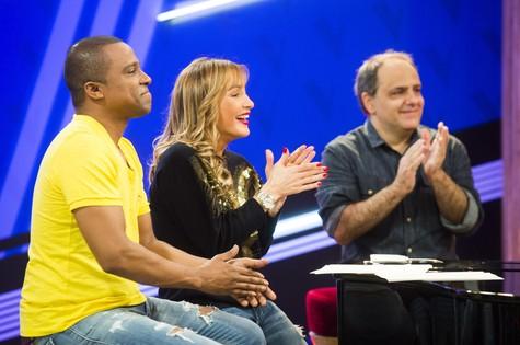 Alexandre Pires, Claudia Leitte e o produtor Torcuato Mariano (Foto: Globo/João Miguel Júnior)