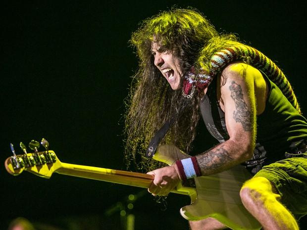 O baixista Steve Harris durante show em São Paulo (Foto: Raul Zito/G1)