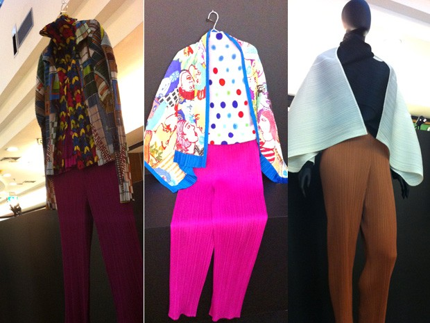 Modelos apresentam cores e tecidos plissados, marca do estilista japonês  (Foto: Káthia Mello/G1 DF)