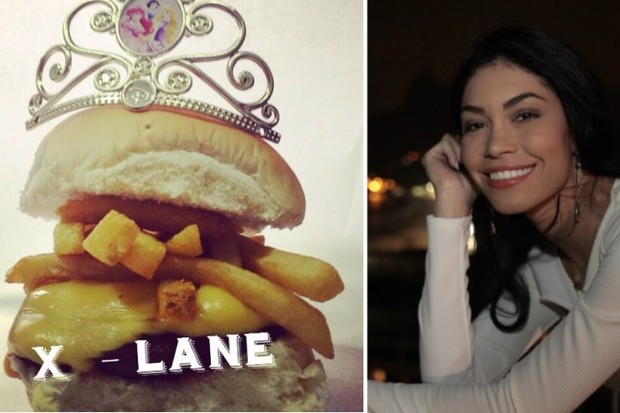 X-lane, o hambúrguer feito para homenagear a modelo Shislanne Hayalla (Foto: Isac Luz/ EGO)