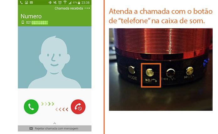 Atenda a ligação usando o botão na caixa de som, sem pegar o celular (Foto: Reprodução/Barbara Mannara)