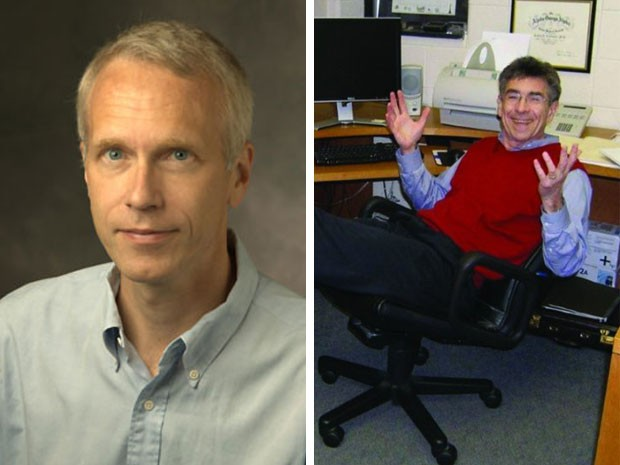 Os professores Kobilka (esquerda) e Lefkowitz (Foto: Universidade Stanford e Journal of Clinical Investigation)