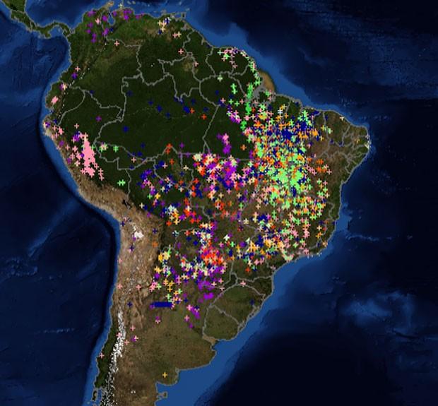 Mapa divulgado pelo Inpe mostra pontos de incêndio registrados por satélites em diversas partes do Brasil e da América do Sul. (Foto: Divulgação/Inpe)