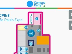 Detalhe do mapa da Campus Party 2015 disponível no aplicativo (Foto: Washington Azevedo/Arquivo pessoal)