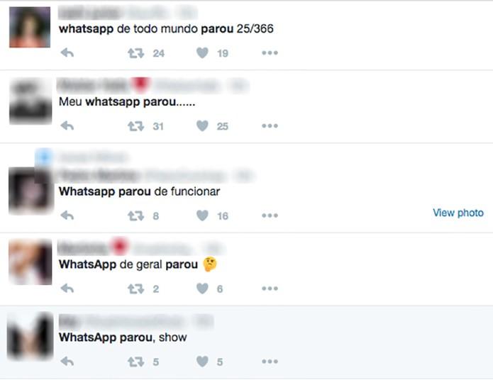 Whatsapp parou: usuários relatam a queda do mensageiro no Twitter, durante a madrugada (Foto: Reprodução /Twitter)