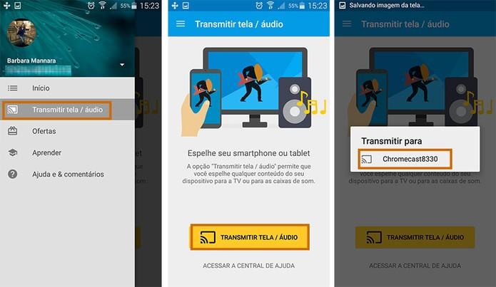 Inicie o espelhamento da tela do Android na TV via Chromecast (Foto: Reprodução/Barbara Mannara)