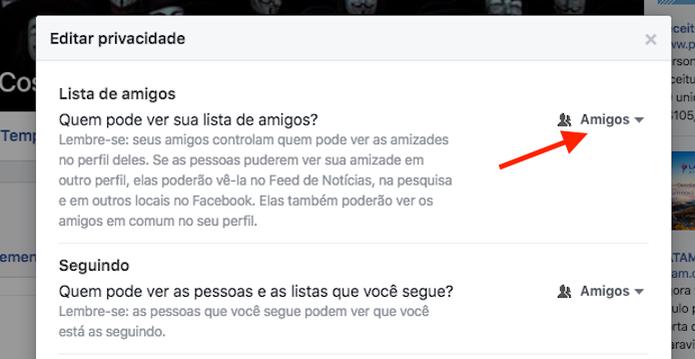 Acessando as opções de privacidade para a lista de contatos do Facebook (Foto: Reprodução/Marvin Costa) (Foto: Acessando as opções de privacidade para a lista de contatos do Facebook (Foto: Reprodução/Marvin Costa))