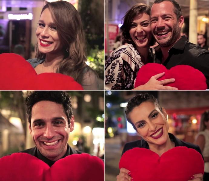 Mariana Ximenes, Isabel Wilker, Malvino Salvador, João Baldasserini e Cleo Pires foram alguns dos atores que distribuíram amor (Foto: Gshow)