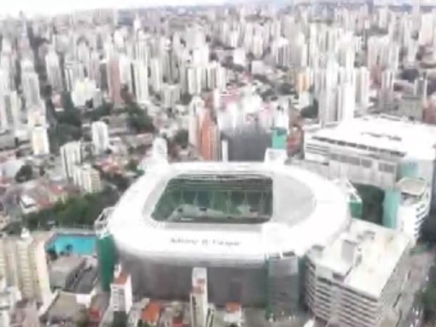 Menino viu estádio do Palmeiras do alto (Foto: Reprodução / TV TEM)