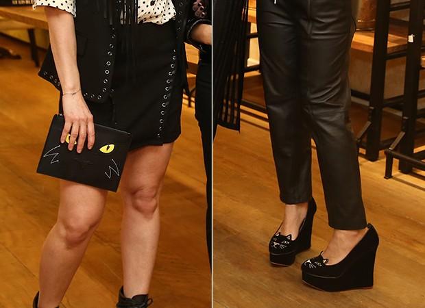 Detalhes dos gatinhos na bolsa de Didi Wagner e nos sapatos de Mica Rocha (Foto: Manuela Scarpa/Brazil News)