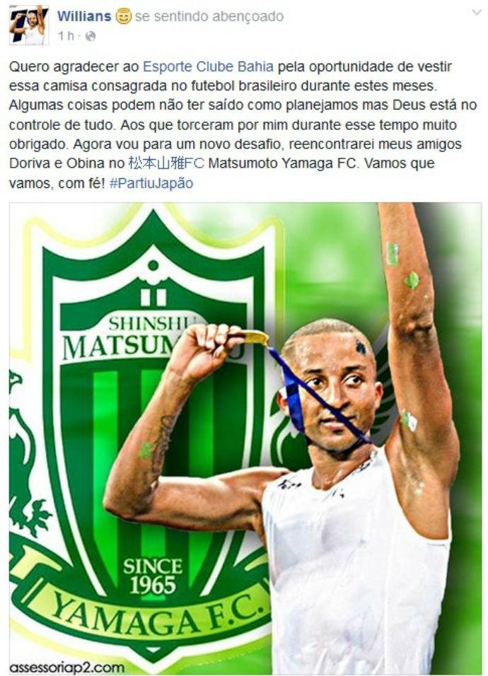 Willians Santana se despede da torcida do Bahia em rede social (Foto: Reprodução / Facebook)