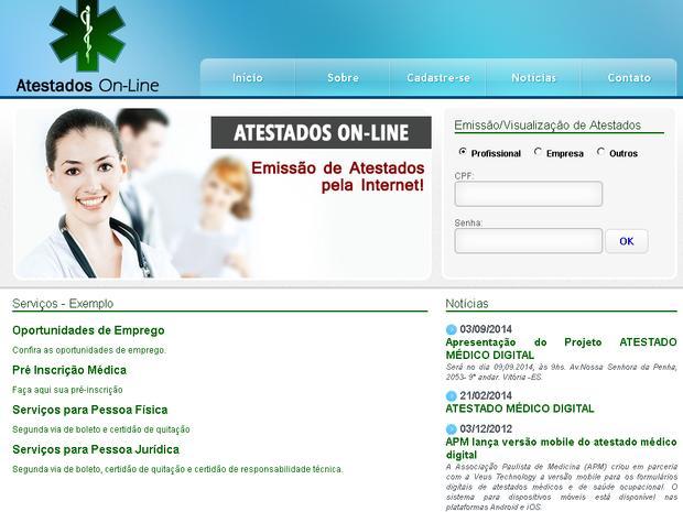 Atestado médico online é apresentado no ES (Foto: Reprodução/ Atestados Online)