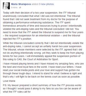 Maria Sharapova no Facebook sobre o doping (Foto: Reprodução / Facebook)