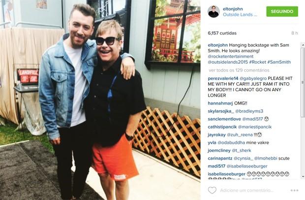 Elton John e Sam Smith nos bastidores do festival Outside Lands, em San Francisco (Foto: Reprodução / Instagram)