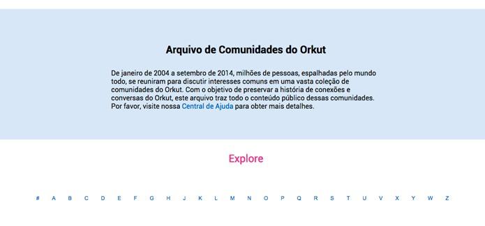 Página inicial do arquivo de comunidades do Orkut (Foto: Reprodução/André Sugai)