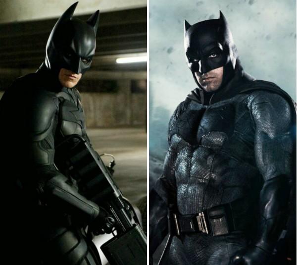 Christian Bale e Ben Affleck no papel do herói Batman (Foto: Reprodução)